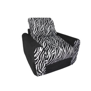 Fun Furnishings Chair Sleeper, Black Zebra