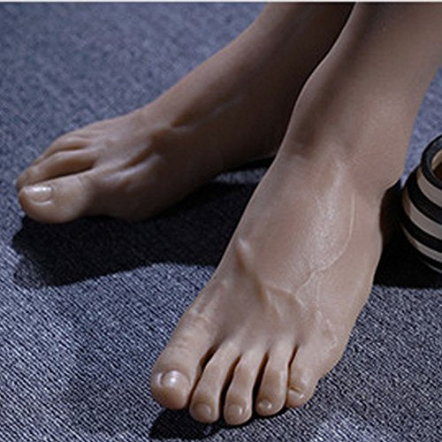 1 Pair Silicone Lifesize Male Mannequin Foot with Bone Display Jewerly Sandal Shoe Sock Display Art Sketch (Wheat)