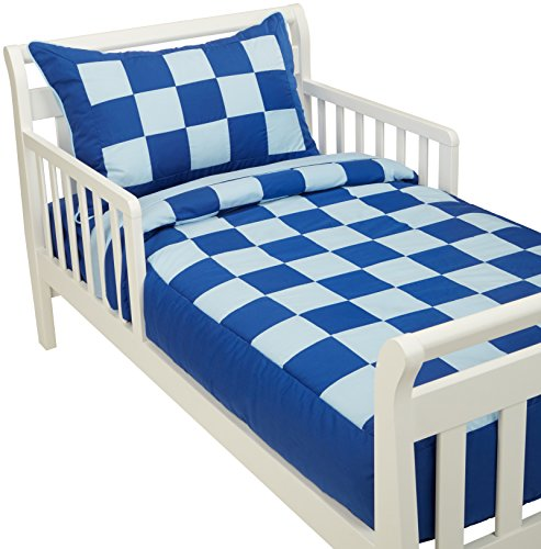 Baby Doll 4Bedding Piece Patchwork Perfection Toddler Bedding Set, Royal/Light Blue