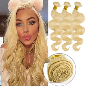 #613 Bleach Blonde Human Hair 3 Bundles 300g Body Wave Unprocessed Brazilian Virgin Human Hair Sew in Extensions for Women Wavy Curly Hair Weave 20""