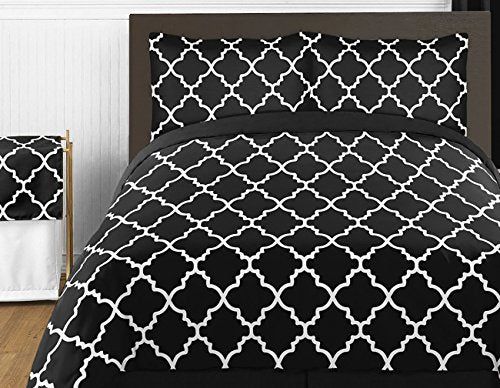 Sweet Jojo Designs 3-Piece Black and White Trellis Childrens and Teen Full/Queen Girl or Boy Bedding Set Collection