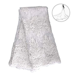 NJHG Lace Fabric 5 Yards Net Cord Embroidery with Pearls Attached by Hand, Tulle Fabric Embroidered with Cord Lace and Hand Attached Pearls for Party Wedding