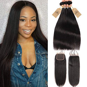 Virgin Hair Straight Bundles with Lace Closure Remy Human Hair Extensions Weave Unprocessed 3 Bundles with 4x4 Free Part Lace Closure Natural Color (16 18 20 w 14)