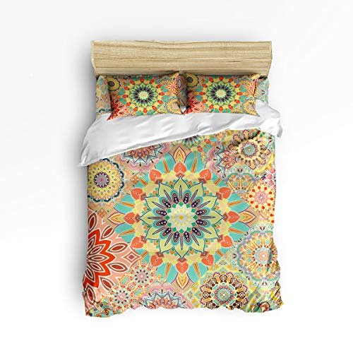 Cloud Dream Home 4 Piece Bedding Set,Bohemian Mandala Pattern Duvet Cover Set Quilt Bedspread for Childrens/Kids/Teens/Adults Queen Size(Large) Bohemian Mandala Pattern Bohemian Mandala Pattern