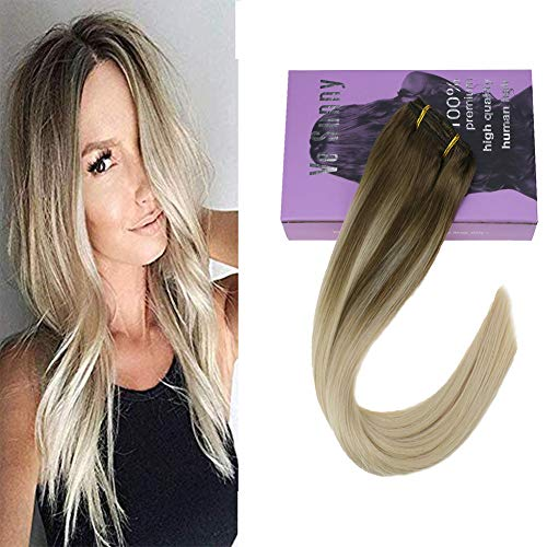 Clip in Ombre Blonde Hair Extensions Human Hair Balayage Color Light Brown Mix Platinum Blonde Full Head Clip in Extensions Remy Human Hair 7pcs/120g 18inch