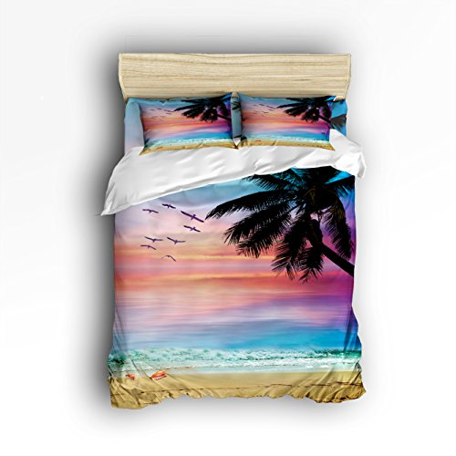 Vandarllin King Size Bedding Set- Coconut Trees Tropical Beach Sunset Duvet Cover Set Bedspread for Childrens/Kids/Teens/Adults, 4 Piece 100% Cotton