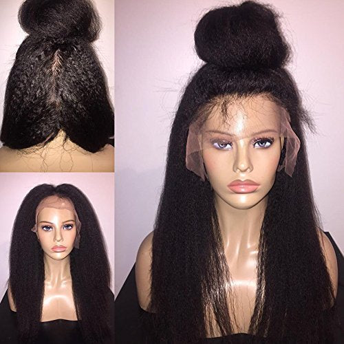 "Foxys' Hair Unproceed Italian Yaki Full Lace Human Hair Wigs Mongolian Kinky Straight Human Hair wigs 130% Density (18"" natural color)"