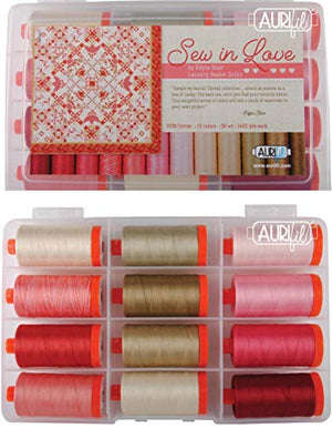Aurifil USA ES50SL12 Sew in Love Collection 50wt 12 Large Cotton Spools Thread Set