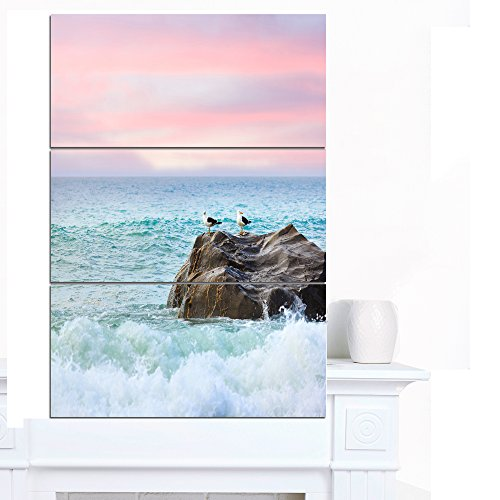 Designart PT13123-3PV Pair of Seagulls on Large Rock Seashore Canvas Wall Artwork,,28x36