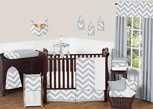 Sweet Jojo Designs 11-Piece Gray and White Chevron Zigzag Gender Neutral Baby Bedding Boy or Girl Crib Set Without Bumper