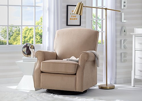 Delta Children Stella Nursery Glider Swivel Rocker Chair, Toast Velvet