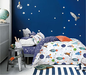 Cliab Space Bedding For Girls Queen Size Kids Duvet Cover Set 100% Cotton 5 Pieces