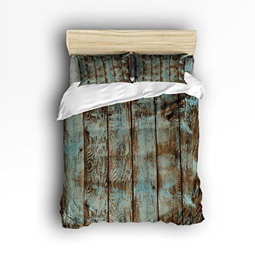 Vandarllin Twin Size Bedding Set- Decorative Rustic Old Barn Wood Art Duvet Cover Set Bedspread for Childrens/Kids/Teens/Adults, 4 Piece 100% Cotton