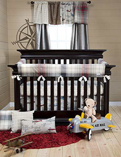 Glenna Jean Fly-By Crib Rail Protector Short Set, Plaid