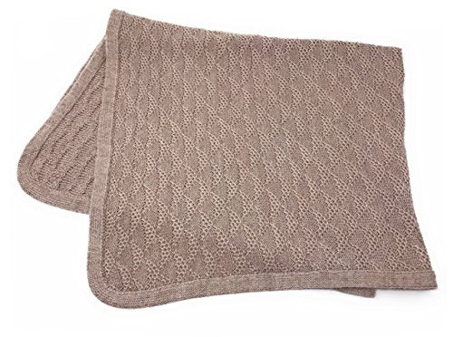 Baby Blanket & Lap Throw,100% Baby Alpaca Wool, Unisex, Hypoallergenic, Dye Free, Pure & Natural (Taupe Rose)