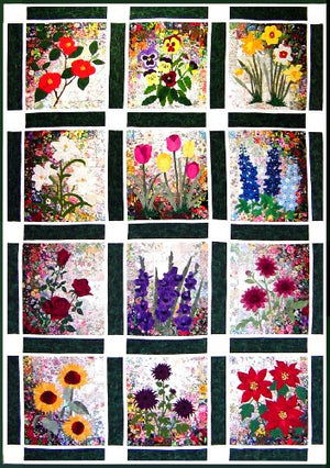 Whims Watercolor Quilt Kits Rachel's Flower Garden Quilting Supplies