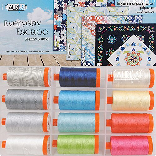 Franny & Jane Everyday Escape Aurifil Thread Kit 12 Large Spools 50 Weight FJ50EE12