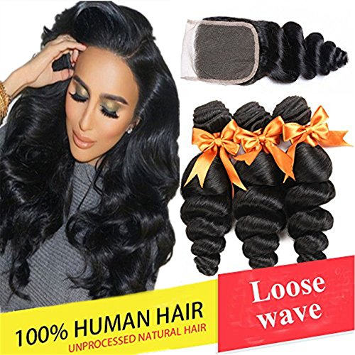 Brazilian Loose Wave 3 Bundles with Closure Unprocessed Virgin Human Hair Bundles with Lace Closure 4x4 Free Part Natural Color (18 20 22 with 16)
