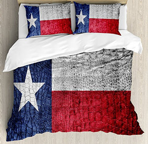 Western Decor Queen Size Duvet Cover Set by Ambesonne, Texas State Flag Painted on Luxury Crocodile Snake Skin Texture Looking Patriotic Emblem, Decorative 3 Piece Bedding Set with 2 Pillow Shams