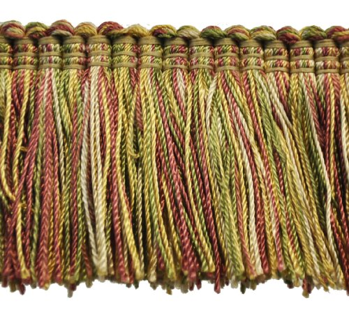 "Brushed Fringe 2"" on 25-Yard Roll, Green/Rust and Gold"