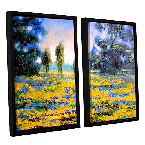 ArtWall Susi Franco's Sea of Butter 2 Piece Floater Framed Canvas Set, 24 by 32""