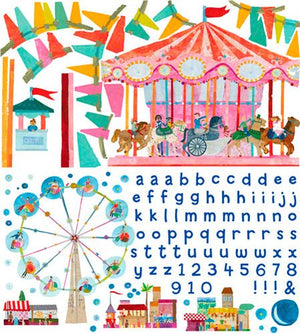 Oopsy daisy Carousel Peel and Place Childrens Wall Decals by Maria Carluccio, 54 by 60-Inch