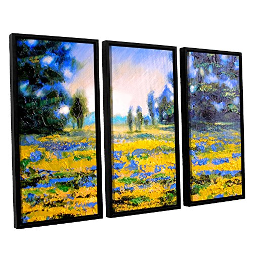 ArtWall Susi Franco's Sea of Butter 3 Piece Floater Framed Canvas Set, 36 by 54""