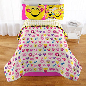 Emoji Complete Girls Bedding Set with Hearts Eyes Pillow - Twin