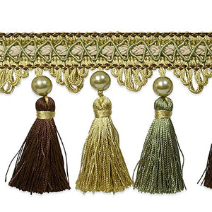 Expo International Tresa Pearl Tassel Fringe Trim, 10 yd, Celadon/Chocolate