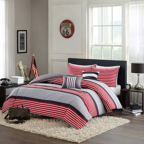 Intelligent Design Paul Full/Queen Comforter Set Teen Boy Bedding - Red Black, Striped - 5 Piece Bed Sets - Ultra Soft Microfiber Bed Comforter