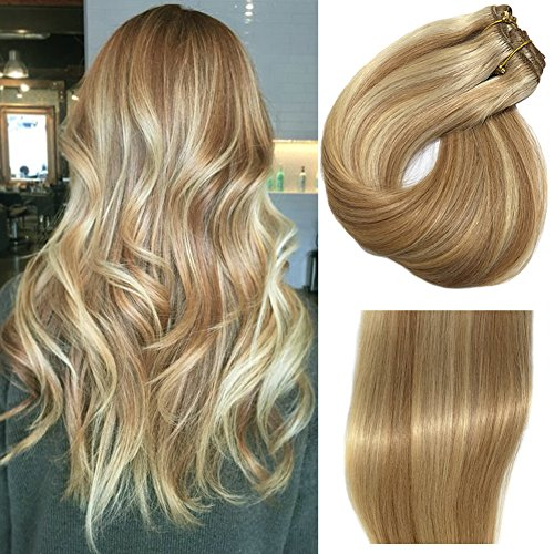 "Clip in Hair Extensions Strawberry Blonde With Blonde Highlights 18"" Dip Dyed Balayage 7 Pcs 120g/Set Full Head Silk Straight Soft Thick Remy Human Hair Extensions(18 inches, 27P613)"