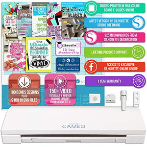 "Silhouette Cameo 3 White Bluetooth Starter Bundle with 26-12"" x 12"" Oracal Vinyl Sheets, Transfer Paper, Guide, Class, 24 Sketch Pens"