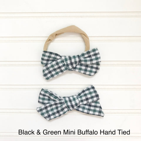 Black and Green Mini Buffalo Hand Tied