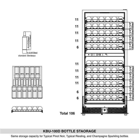 "KingsBottle Wine Cooler KBU100DX- 24"" Wide 100 Bottles Dual Zone"