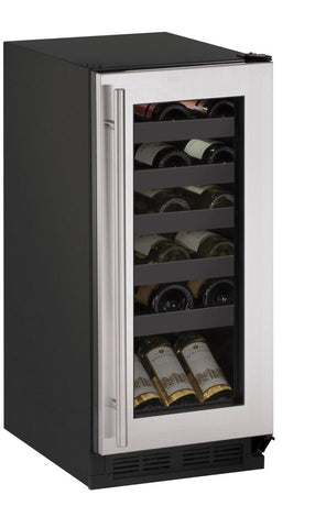 "U-Line U-1215WCS-00B Wine Cooler- 15"" Wide 24 Bottles Single Zone"