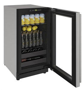 "U-Line U-2218BEVS-00A Beverage Center 51 Bottles 18"" Wide Reversible Hinge Stainless"