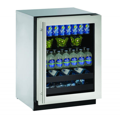 "U-Line U-2224BEVS-00B Beverage Center 79 Bottles 24"" Wide Single Zone"