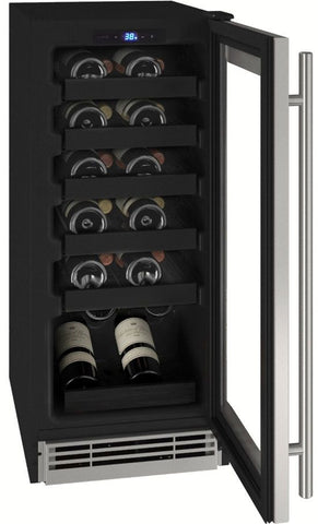 "U-Line UHWC115-SG01A Wine Cooler- 15"" Wide 24 Bottles Single Zone"