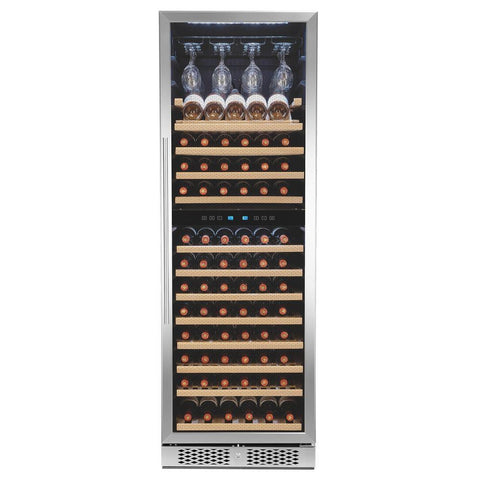 "AKDY WC0081 121 Bottle Wine Cooler 23.5"" Wide Dual Zone Free Standing Stainless Steel Black - AKDY - 121 Bottles"