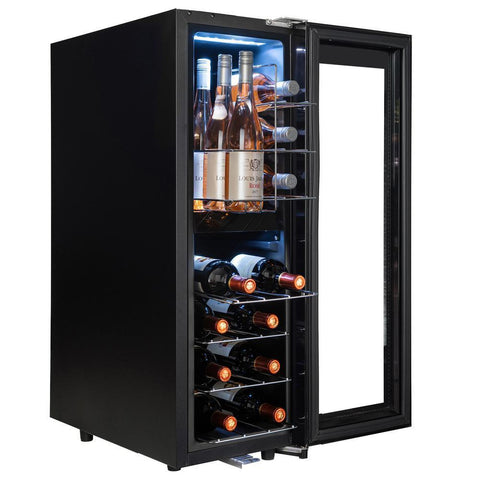 "AKDY WC0072 16 Bottle Wine Cooler 11.75"" Wide Dual Zone Free Standing w/ Black Touch Panel - AKDY - 16 Bottles"