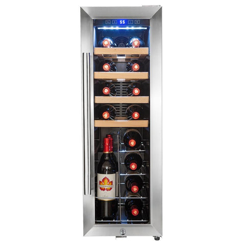 "AKDY WC0070 20 Bottle Wine Cooler 11.75"" Wide Single Zone Free Standing w/ Black Touch Panel - AKDY - 20 Bottles"