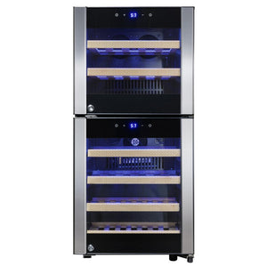 "AKDY WC0039 33 Bottle Wine Cooler 15.75"" Wide Dual Zone Free Standing Stainless Steel/Black Door - AKDY - 33 Bottles"
