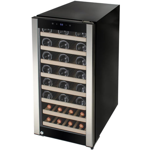 "AKDY WC0038 38 Bottle Wine Cooler 15.75"" Wide Single Zone Free Standing Stainless Steel/Black Door - AKDY - 38 Bottles"