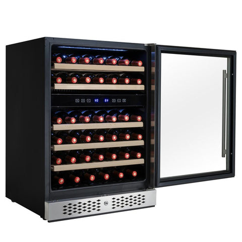 "AKDY WC0031 46 Bottle Wine Cooler 23.5"" Wide Dual Zone Built In w/ Reversible Stainless Steel Door - AKDY - 46 Bottles"