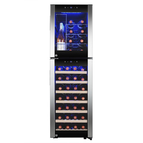 "AKDY WC0077 44 Bottle Wine Cooler 15.75"" Wide Dual Zone Free Standing Stainless Steel Black - AKDY - 46 Bottles"