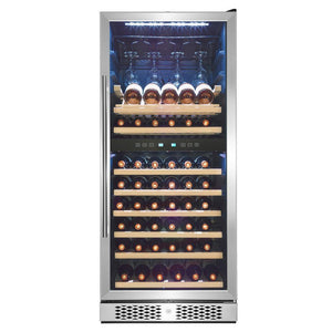 "AKDY WC0079 53 Bottle Wine Cooler 23.5"" Wide Dual Zone Free Standing Stainless Steel Black - AKDY - 53 Bottles"