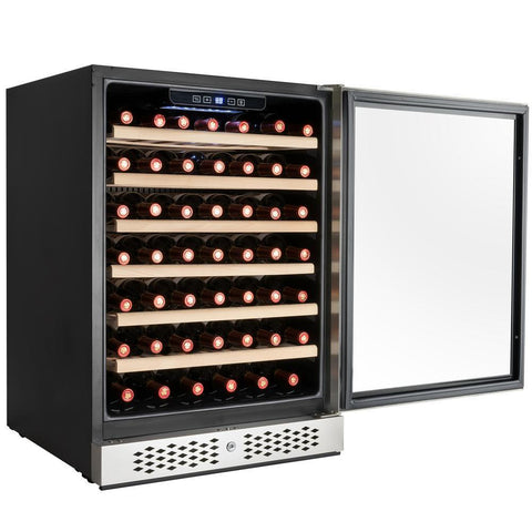 "AKDY WC0030 54 Bottle Wine Cooler 23.5"" Wide Single Zone Built In w/ Reversible Stainless Steel Door - AKDY - 54 Bottles"