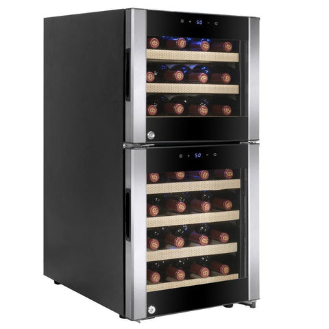 "Image of AKDY WC0039 33 Bottle Wine Cooler 15.75"" Wide Dual Zone Free Standing Stainless Steel/Black Door - AKDY - 33 Bottles"