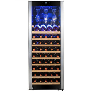 "AKDY WC0074 56 Bottle Wine Cooler 19.5"" Wide Single Zone Free Standing Stainless Steel Black - AKDY - 56 Bottles"