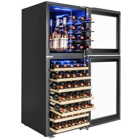 "AKDY WC0075 58 Bottle Wine Cooler 19.5"" Wide Dual Zone Free Standing Stainless Steel Black - AKDY - 56 Bottles"